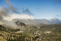 Fog over a Tenerife mountain village Royalty Free Stock Photos
