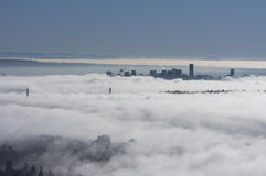 Fog over Vancouver city Stock Photos