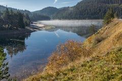 Fog over the water of Golyam Beglik Reservoir,  Bulgaria Royalty Free Stock Photography