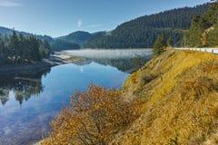 Fog over the water of Golyam Beglik Reservoir, Bulgaria Royalty Free Stock Photos