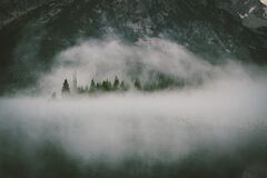 Fog Over Water by Mountain Forest Royalty Free Stock Photo