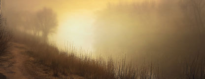 Fog over water in the spring in the early morning. Stock Photography