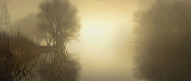 Fog over water in the spring in the early morning. Stock Photo