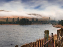 Fog over Welsh Reservoir Stock Photo