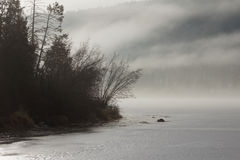 Fog Over Williams Lake in the Winter Stock Photos