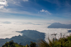 Fog on Phu Chee Dao. In ChiangRai stock images