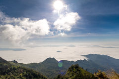 Fog on Phu Chee Dao. In ChiangRai royalty free stock photo