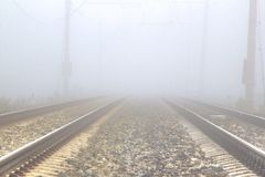Fog. On the railroad tracks Royalty Free Stock Photography
