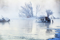 The fog and rime in river Royalty Free Stock Photos