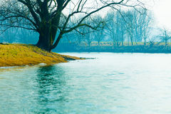 Fog on the river in autumn.  Royalty Free Stock Photography