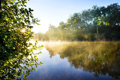 Fog on river Stock Photography