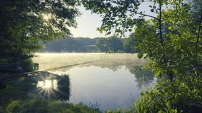 Fog on river at sunrise. Bright sun and fog over river in the morning stock video footage