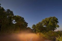 Fog on the river under a starry sky. Stock Photos