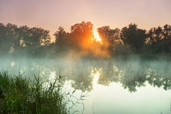 Fog on the river Royalty Free Stock Photo