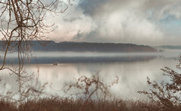 Fog on the river, water, lake Stock Photos