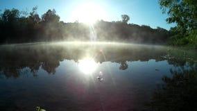 Fog on river Zbruch Podilski, Tovtry Ukraine. Morning fog on Zbruch river, Podilski, Tovtry, Podolian, Avratinian Upland Dniester Khmelnytskyi Ukraine june 2017 stock video