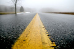 Fog Road. Wet road leading to a foggy background Stock Image