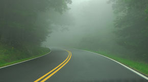Fog on Road Stock Photo