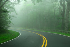 Fog on Road. Foggy forest road highway with two lanes and trees Stock Photo