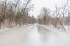 Fog on the Road in Stormy Winter Bad Weather Conditions. Low, vision, blizzard, driving, hazardous, backroad, way, thru, woods, north, america, usa, traffic stock images