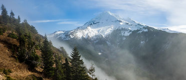 Fog rolling over the pass near Mt Hood Royalty Free Stock Image