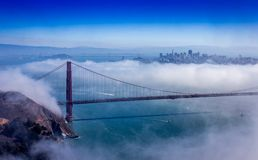 Foggy Golden Gate Bridge stock images