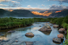 Fog Rolls in on Moraine Park and the Big Thompson River in Rocky Stock Images