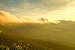 Fog rolls over the blue ridge mountains Stock Image
