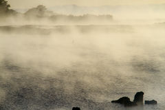 Fog at rotorua lake. New zealand Stock Photo