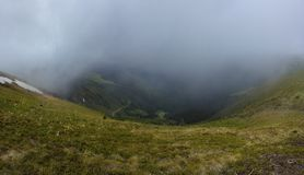 Fog route. Fog movements in Carpathians down the range Royalty Free Stock Photography