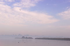 Fog on the rowing channel. Rostov-on-Don. Russia Royalty Free Stock Photo