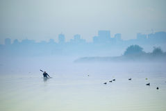 Fog on the rowing channel. Rostov-on-Don. Russia Royalty Free Stock Photography