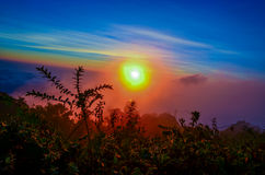 Fog's Color. The first light of the day at Doi Hom Pok, Chiang Mai. 360 degrees sky's view at the peak of the mountain. You can see the sun, moon and stars here Stock Image