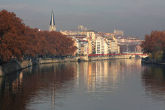 Fog on Saone river Royalty Free Stock Photography