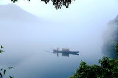 Fog scene in little dongjiang river Stock Photos