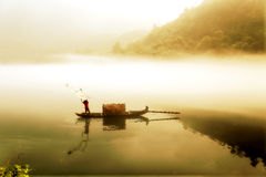 Fog scene in little dongjiang river Stock Image