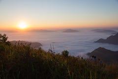 Fog. Sea smoke solitary stone sun thailand travel Royalty Free Stock Photos