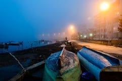 Fog On The Seaside Town Royalty Free Stock Photos