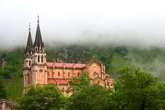 Fog at the shrine of Covadonga Stock Photography