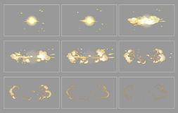 Fog side explosion special effect animation frames. Fog side explosion special effect fx animation frames sprite sheet. Explosion frames for flash animation in Stock Photo