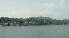 Fog in the skerries. Fog time-lapse. Fog in the skerries of Lake Ladoga stock video