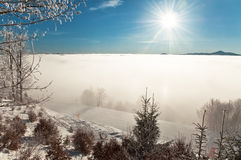 Fog at a ski resort Royalty Free Stock Photography