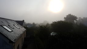 Fog. Small town in France, Rennes Royalty Free Stock Images