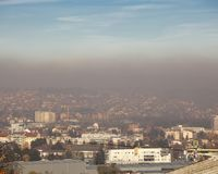 Fog and smog over the city - Airpollution air pollution in winter, Valjevo, Serbia Royalty Free Stock Image