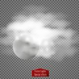 Fog or smoke  transparent special effect. White vector cloudiness, mist or smog background. Vector illustration Royalty Free Stock Photography