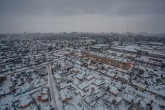 Fog, snowstorm at winter day in Voronezh. Aerial view.  Stock Images