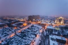 Fog, snowstorm at winter night in Voronezh. Aerial view.  Royalty Free Stock Photography