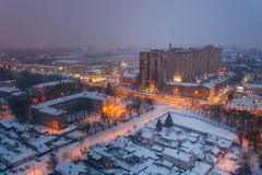Fog, snowstorm at winter night in Voronezh. Aerial view, Voronezh cityscape.  Stock Photography