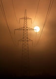Fog sun + electrification. Electric columns small big where they only are not present. All time strive to get in the staff closing itself and the wires royalty free stock photo