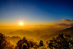 Fog with Sun Rise Flare and Cloud at Mountain Viewpoint. Fog with Sun Rise Flare and Cloud at Mountain Stock Image